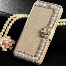 Floral Diamond Bling Crystal Glitter Fashion Style Leather Case for Apple iPhone