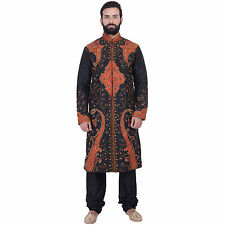 Indian Designer Black Kurta Sherwani for Men 2pc Suit (Worldwide Postage)