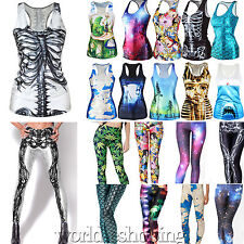 Womens 3D Digital Print Gothic Punk T-Shirt Tank Top Vest Leggings Pencil Pants