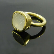 925 Sterling silver Natural White druzy gemstone cushion 18k gold vermeil ring