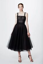 NWT Marchesa Notte Sleeveless Black Lace and Tulle Tea Dress