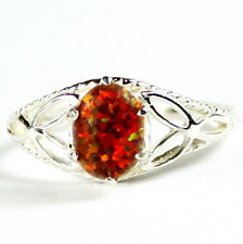 Created Red/Brown Opal, 925 Sterling Silver Ring-Handmade, SR137