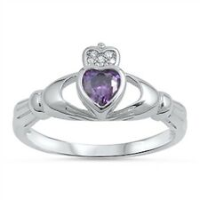925 Sterling Silver Irish Celtic Claddagh Ring Amethyst Clear CZ Sz 4-10