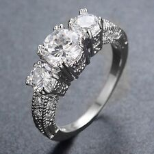10KT Jewelry Size 6-9 White Sapphire Ring White Gold Filled Wedding Band Ring