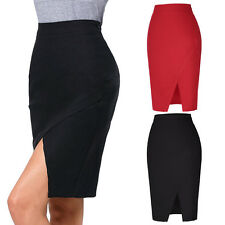 Lady Office OL High Waist Fit Knee Length Straight Stretch Business Pencil Skirt