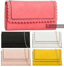 NEW LADIES CHAIN STRAP RUFFLE FLAP FAUX LEATHER PARTY EVENING CLUTCH HANDBAG