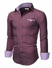 Doublju Mens Long Sleeve Slim Fit Tailored Button Down Collared Shirt