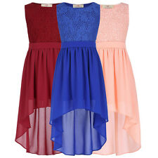Cute Kids Girls Lace Formal Chiffon High-Low Dress Evening Casual Party Dresses