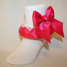 Girls White Cotton Nylon Socks White Lace and Hot Pink Satin Ribbon Bows Bailey
