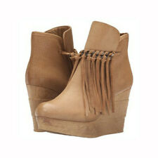 sbicca zing natural Nude Leather HIgh Platform Wedge Bootie Zepp Ankle Boot