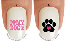 """WaterSlide Decal Set#1354 """"I Love my Dog Pink Heart Paw"""" Nail Art Transfers"""