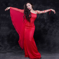 New Women 2016 winter Belly Dance Costumes Club Stage Practice Long Dress M L