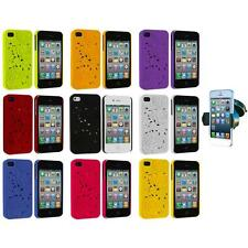3D Rose Flower Hard Rubberized Cover Case+Windshield Mount for iPhone 4 4S 4G