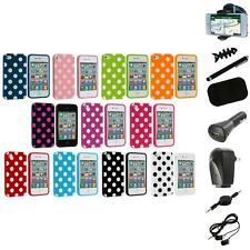 Polka Dot TPU Color Rubber Skin Case Cover+8X Accessory for Apple iPhone 4 4S 4G