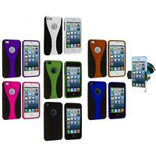 Color Black 3-Piece Rubberized Hard Case Cover+Windshield Mount for iPhone 5 5S