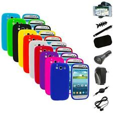 Silicone Rubber Color Case Cover+8X Accessory for Samsung Galaxy S III S3 i9300