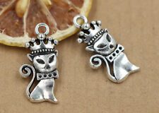 6/30/150pcs  31x14mm Tibet silver cat queen  crown charm pendant jewelry