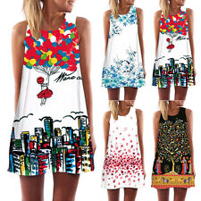 Summer Women Vintage Sleeveless O-neck Casual Party Evening Cocktail Mini Dress