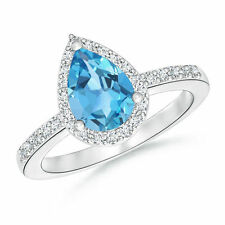 Solitaire Pear Shape Natural Blue Topaz Engagement Ring with Diamond Halo
