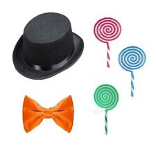 Childrens 3Pc Set Fancy Dress Wonka Party Book Day Black Hat Bow Tie Lollipop