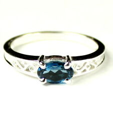 London Blue Topaz, 925 Sterling Silver Ring, SR362-Handmade