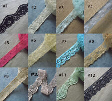 """6-14 Yards 1""""-2"""" Wide Stretch Floral Lace Black,Green,Beige,Ivory,Grey,Red xx6"""