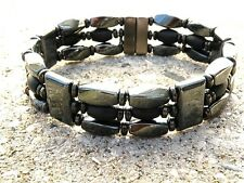 Men's Women's Black Onyx Magnetic Bracelet Anklet Necklace STRONG Clasp 3 row
