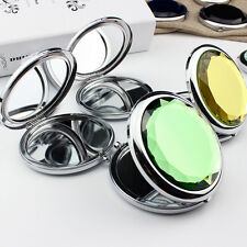 Fashion Mini Stainless Travel Compact Pocket Crystal Folding Makeup Mirror NewEW