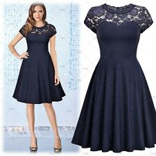 Women's Vintage Cocktail Party Floral Lace Casual Pleated Wear To Work Dress