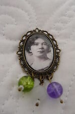 SUFFRAGETTE CHRISTABEL PANKHURST PORTRAIT BROOCH