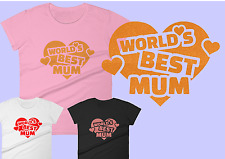 Worlds Best Mum! Heart mothers day gift T-Shirt Sizes 8-18 £1 to cancer research