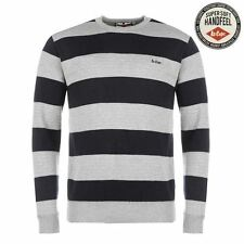 Lee Cooper Stripe Crew Neck Knit Jumper Mens Grey/Navy Sweater Pullover Top