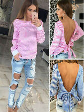 2017 Fashion Lady Women Sexy Backless Striped T-shirt Girl Tops Blouse Clothes