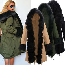 Womens Fur Hooded Jacket Winter Coat Long Parka Ladies Outerwear Windbreaker