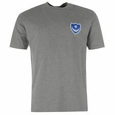 Portsmouth FC Pompey Small Crest T-Shirt Mens Grey Marl Football Soccer Club