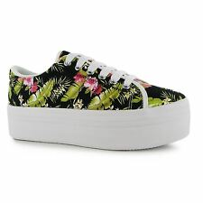 Jeffrey Campbell Play Floral zOMG Platform Shoes Womens Black Trainers Sneakers