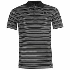Nike Stripe Golf Polo Shirt Mens Black Collared T-Shirt Top