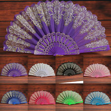 Chinese Style Hand Held Fan Silk Bamboo Folding Flower Lace Dance Party Weddings