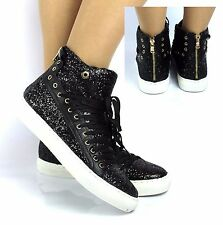 WOMENS LADIES BLACK GIRLS LACE UP FLAT HI HIGH TOP ZIP PUMPS TRAINERS BOOTS SIZE