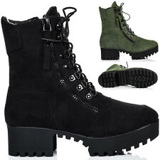 Womens Lace Up Cleated Sole Zip Platform Block Heel Military Combat Ankle Boots