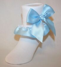 Girls White Cotton Nylon Bobby Socks with Light Blue Satin Ribbon and Bows