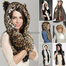 Fuzzy Warm Faux Fur Animal Hood Hat Scarf Fluffy Plush Cap Ear Hoodie ED
