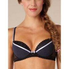 PASSIONATA 'LOVELY' PUSH UP BRA, STYLE NO 4852, BLACK/GREY PINSTRIPE, UNDERWIRED