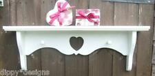 Hand made by craftsman shabby chic painted wall shelf 1 heart 2 shaker pegs
