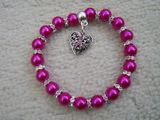 Stunning Crystal And Pearl Bracelet with Cancer Race for Life Pink Ribbon Charm