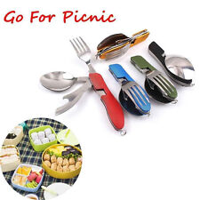 Outdoor Compact Folding Spoon Fork 3 in1 Utensils Tools Set Travel Camping