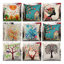 Colorful Floral Tree Cotton Linen Pillow Case Throw Cushion Cover Home Decor 18""