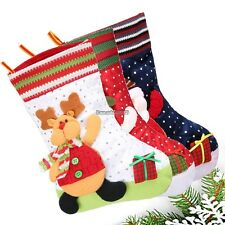 Plush Snowman Santas Reindeer Christmas Socks Storage Christmas Gift BagED