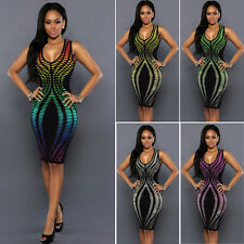 Women Summer Bandage Bodycon Pencil Evening Party Cocktail Club Dress 8 10 12 14
