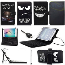 """For 7"""" 8"""" 10.1"""" Android Tablet PC Micro USB Keyboard PU Leather Case Stand Cover"""